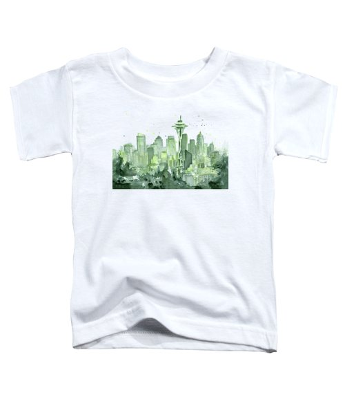 Seattle Watercolor Toddler T-Shirt by Olga Shvartsur
