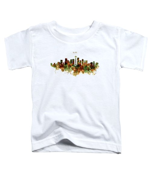 Seattle Watercolor Skyline Poster Toddler T-Shirt