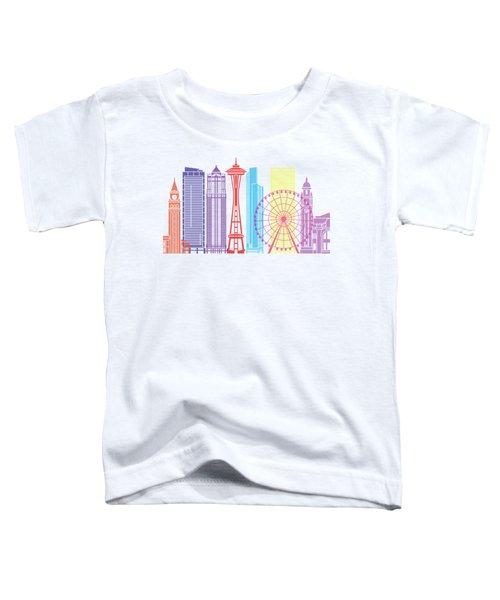 Seattle_v2 Skyline Pop Toddler T-Shirt by Pablo Romero
