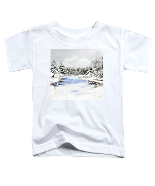 Toddler T-Shirt featuring the painting Seeley Montana Winter by Susan Kinney