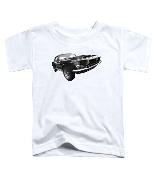 Shelby Gt500kr 1968 In Black And White Toddler T-Shirt