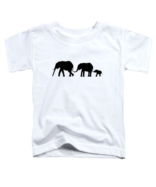 Silhouettes Of 3 Elephants Holding Tails  Toddler T-Shirt