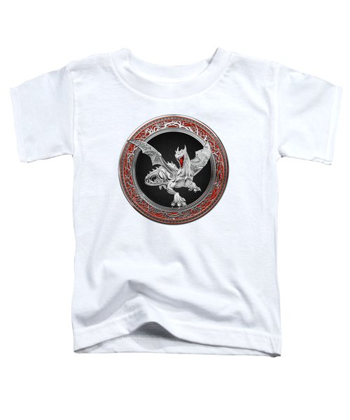 Silver Guardian Dragon Over White Leather Toddler T-Shirt by Serge Averbukh