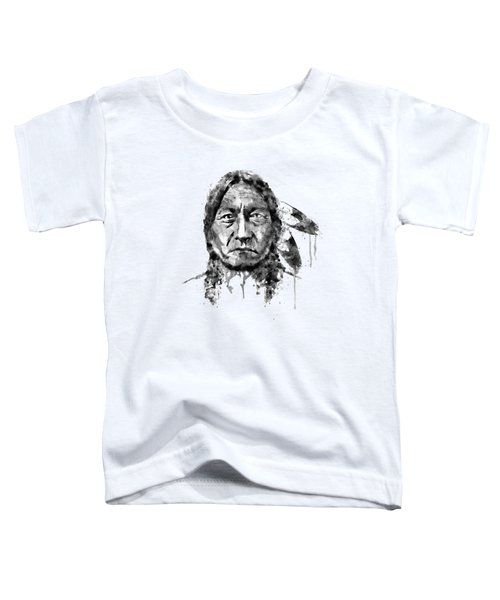 Sitting Bull Black And White Toddler T-Shirt by Marian Voicu