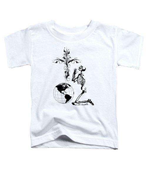 Skeleton Pryaing Cross Globe Toddler T-Shirt