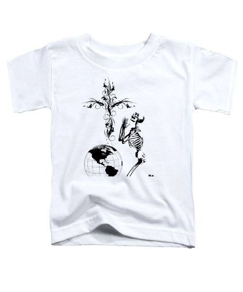 Skeleton Pryaing Cross Globe Toddler T-Shirt