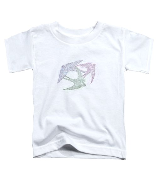Sketch Of Swallow Birds Design In Motion Symbolism Of Freedom And Unity Toddler T-Shirt