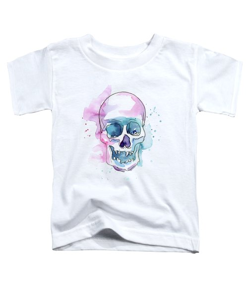 Skull Watercolor Abstract Toddler T-Shirt