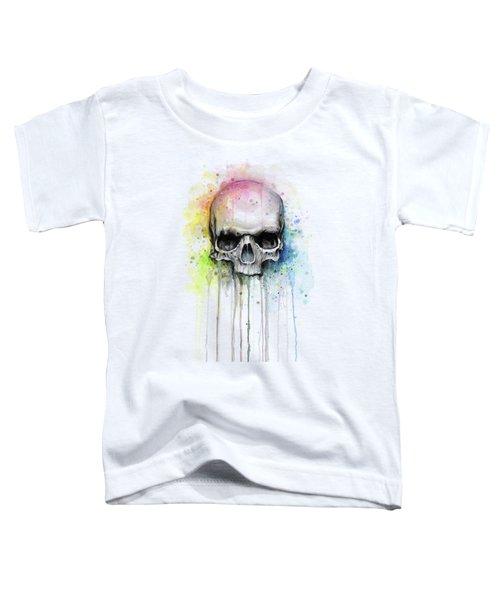 Skull Watercolor Rainbow Toddler T-Shirt