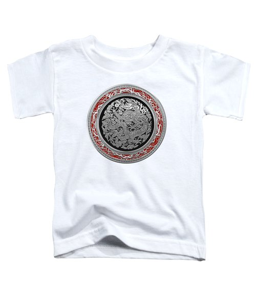 Sliver Chinese Dragon On White Leather Toddler T-Shirt