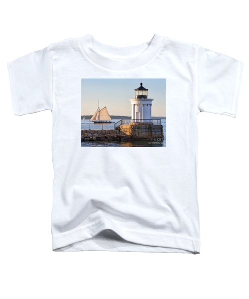 Sloop And Lighthouse, South Portland, Maine  -56170 Toddler T-Shirt