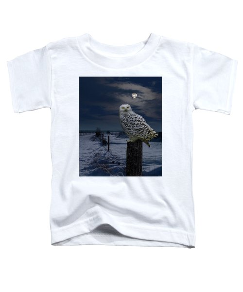 Snowy Owl On A Winter Night Toddler T-Shirt