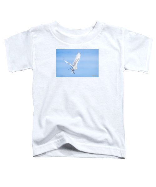 Toddler T-Shirt featuring the photograph Snowy Owls Soaring by Rikk Flohr