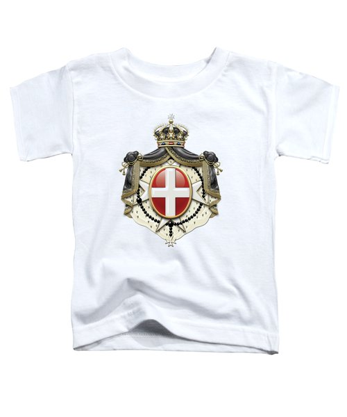 Sovereign Military Order Of Malta Coat Of Arms Over White Leather Toddler T-Shirt