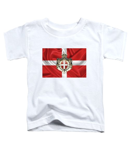 Sovereign Military Order Of Malta - S M O M Coat Of Arms Over Flag Toddler T-Shirt