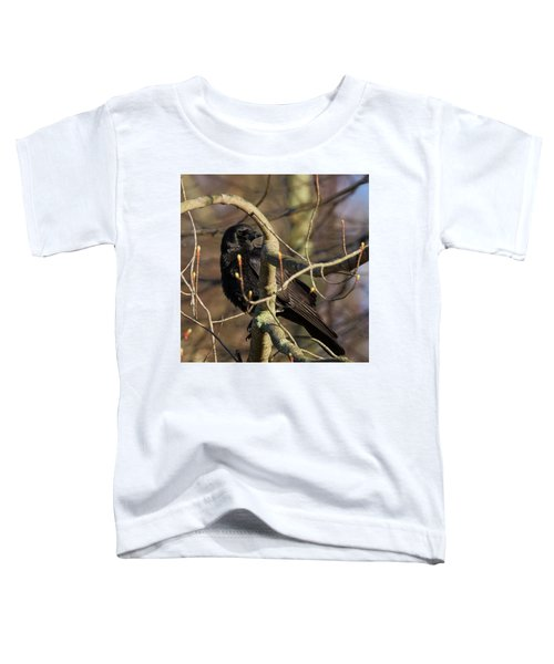 Toddler T-Shirt featuring the photograph Springtime Crow Square by Bill Wakeley