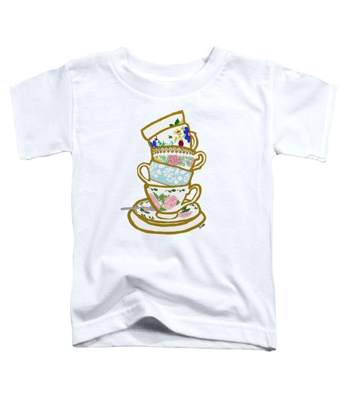 Stacked Teacups Toddler T-Shirt by Priscilla Wolfe