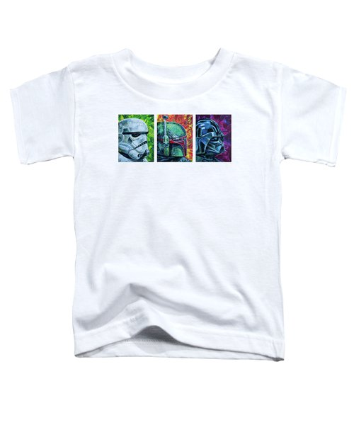 Toddler T-Shirt featuring the painting Star Wars Helmet Series - Triptych by Aaron Spong
