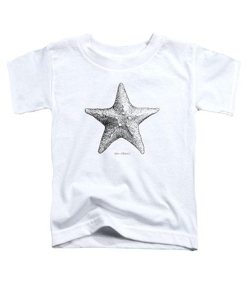 Coastal Starfish Drawing - Black And White Sea Star - Beach Decor - Nautical Art Toddler T-Shirt