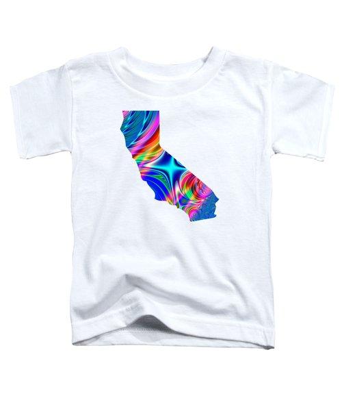 State Of California Map Rainbow Splash Fractal Toddler T-Shirt