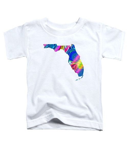 State Of Florida Map Rainbow Splash Fractal Toddler T-Shirt