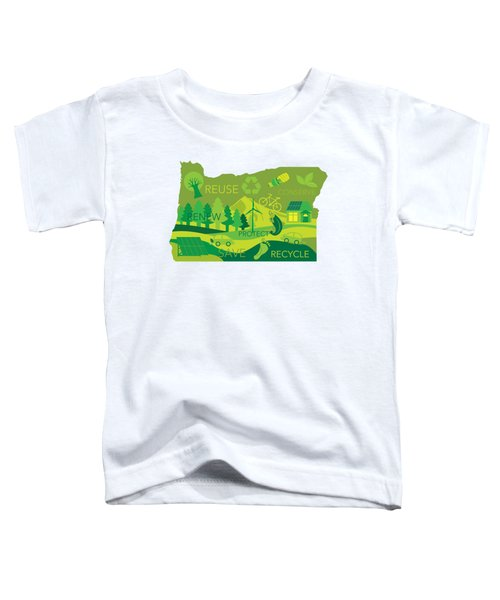 State Of Oregon Map Environment Eco Outline Toddler T-Shirt