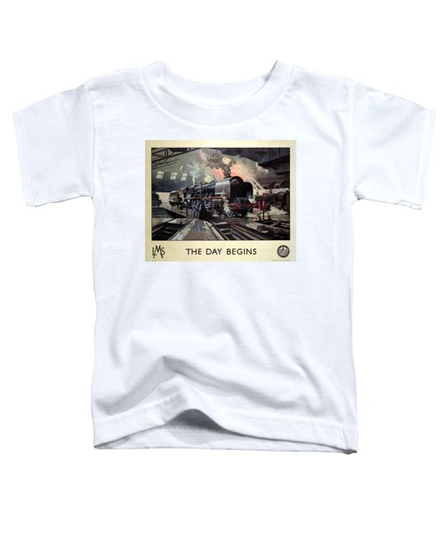 Steam Engine Locomotive At The Terminal - The Day Begins - Vintage Advertising Poster Toddler T-Shirt