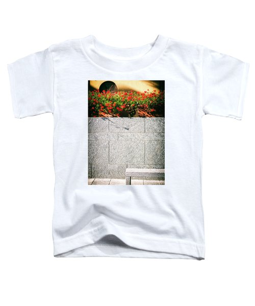 Toddler T-Shirt featuring the photograph Stone Bench With Flowers by Silvia Ganora