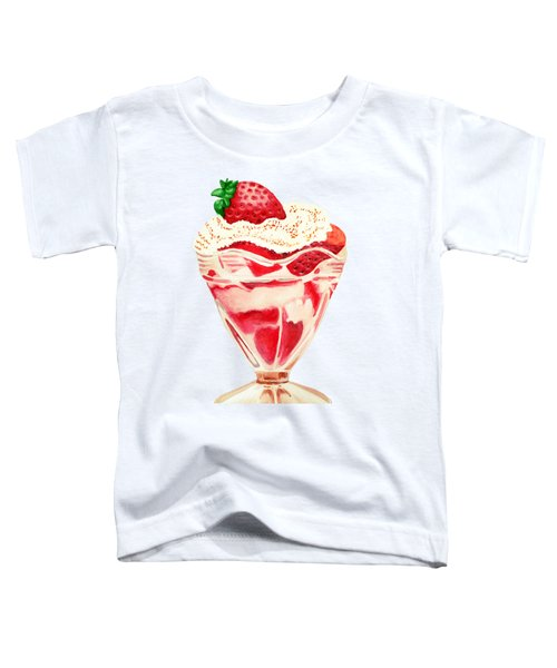 Strawberry And Cream Dessert Toddler T-Shirt by Sonja Taljaard