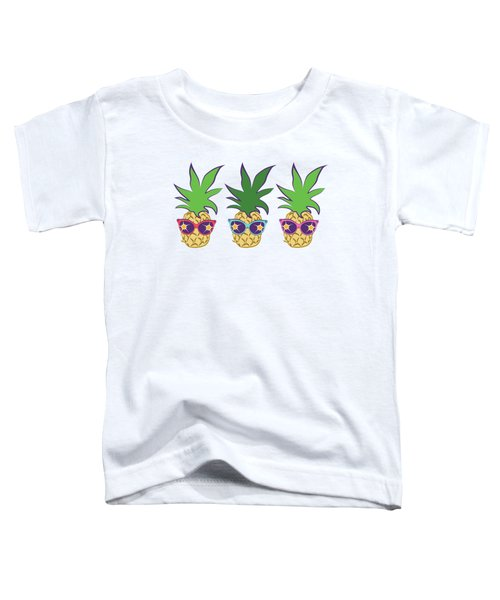 Summer Pineapples Wearing Retro Sunglasses Toddler T-Shirt