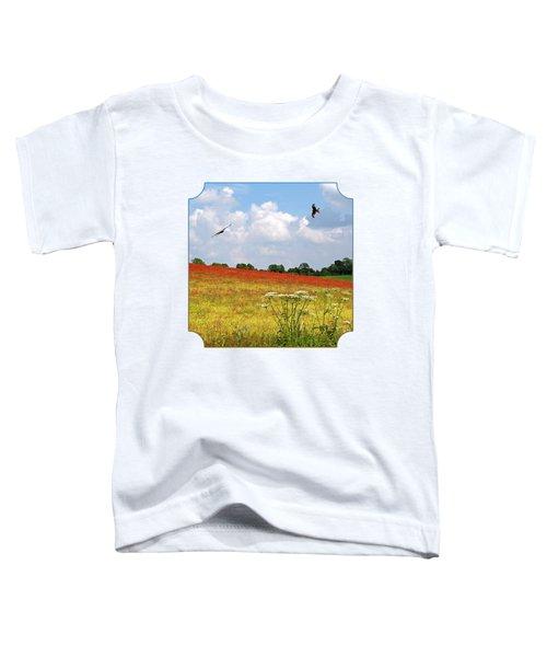 Summer Spectacular - Red Kites Over Poppy Fields - Square Toddler T-Shirt