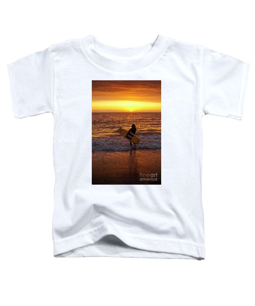 Sunset Surfer On Aberystwyth Beach Wales Uk Toddler T-Shirt