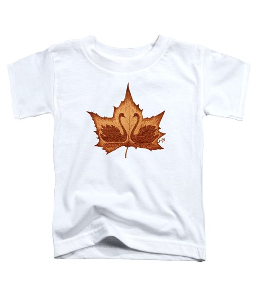 Swans Love On Maple Leaf Original Coffee Painting Toddler T-Shirt