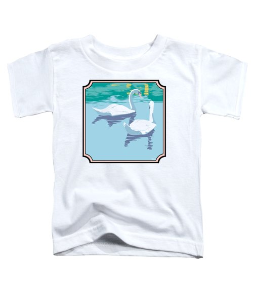 Swans On The Lake And Reflections Absract - Square Format Toddler T-Shirt