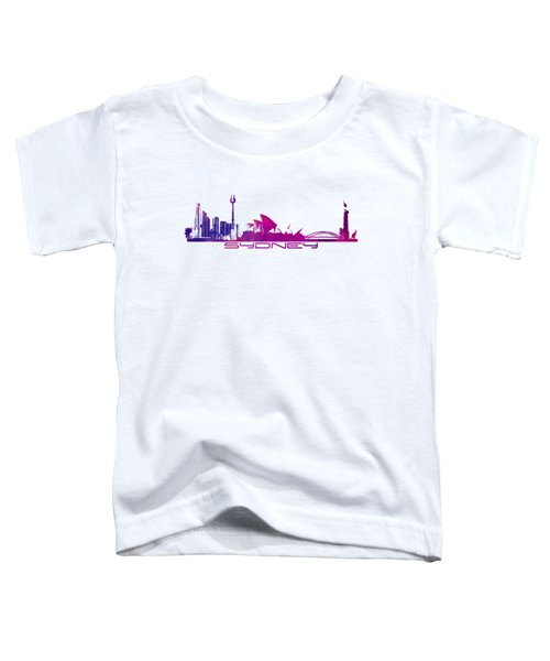 Sydney Skyline Purple Toddler T-Shirt by Justyna JBJart