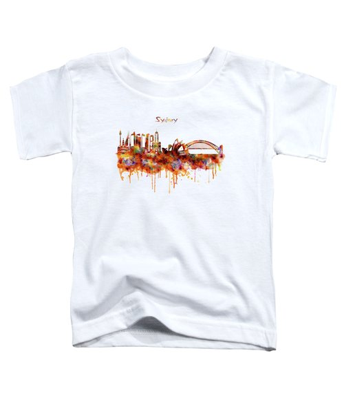 Sydney Watercolor Skyline Toddler T-Shirt by Marian Voicu