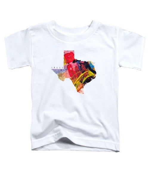 Texas Map Art - Painted Map Of Texas Toddler T-Shirt