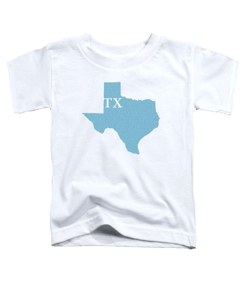 Texas State Map With Text Of Constitution Toddler T-Shirt by Design Turnpike