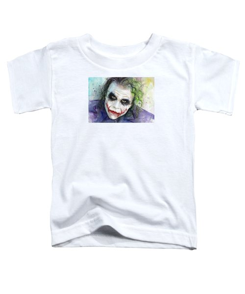 The Joker Watercolor Toddler T-Shirt by Olga Shvartsur