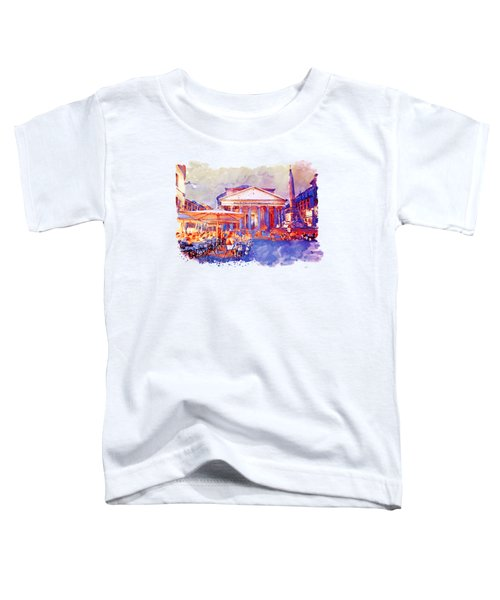 The Pantheon Rome Watercolor Streetscape Toddler T-Shirt