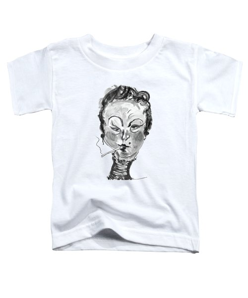 The Smoker - Black And White Toddler T-Shirt by Marian Voicu