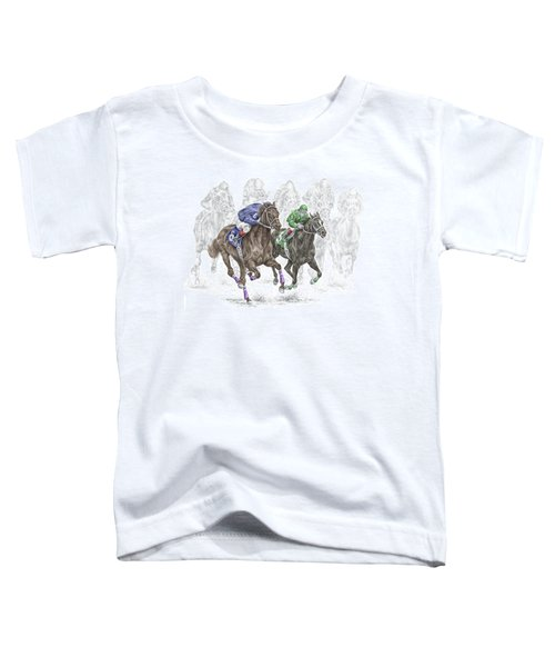 The Thunder Of Hooves - Horse Racing Print Color Toddler T-Shirt