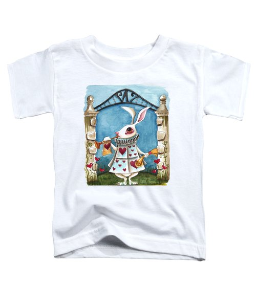 The White Rabbit Announcing Toddler T-Shirt by Lucia Stewart