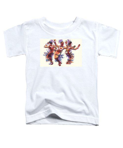 Toddler T-Shirt featuring the painting Three Dancers Of Tongatapu by Judith Kunzle
