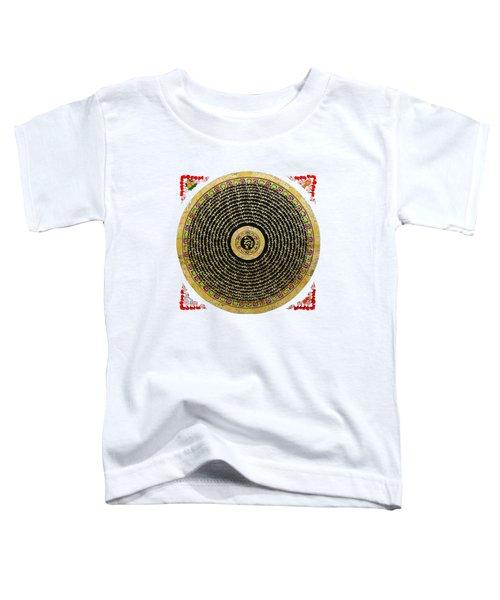 Tibetan Thangka - Om Mandala With Syllable Mantra Over White Leather Toddler T-Shirt