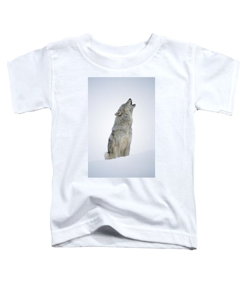 Timber Wolf Portrait Howling In Snow Toddler T-Shirt