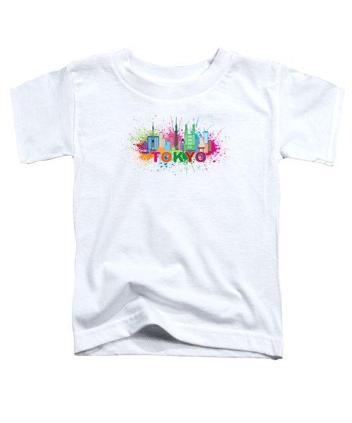 Tokyo City Skyline Paint Splatter Illustration Toddler T-Shirt