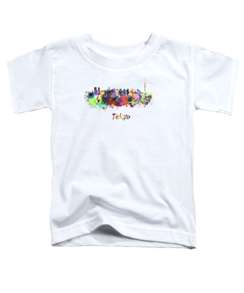 Tokyo V2 Skyline In Watercolor Toddler T-Shirt by Pablo Romero