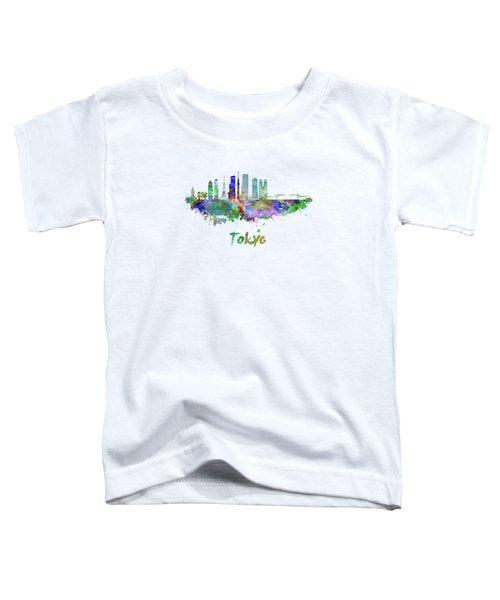 Tokyo V3 Skyline In Watercolor Toddler T-Shirt by Pablo Romero