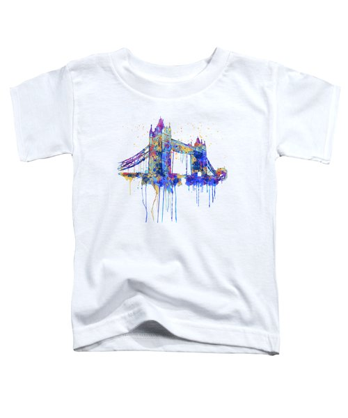 Tower Bridge Watercolor Toddler T-Shirt by Marian Voicu